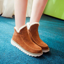 Load image into Gallery viewer, Big Size Pure Color Warm Fur Lining Winter Ankle Snow Boots For Women