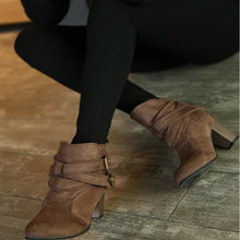 Load image into Gallery viewer, Women Daily Casual Nubuck Leather Chunky Heels Ankle Boots