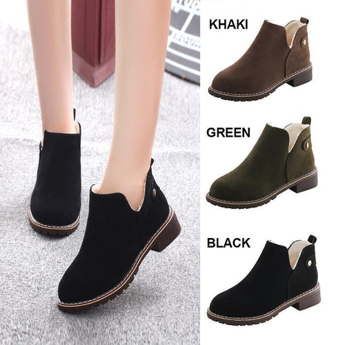 Women British Style Outdoor Faux Suede Martin Boots