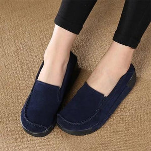 Women Faux Suede Slip-on Loafers Lazy Casual Platform Shake Shoes