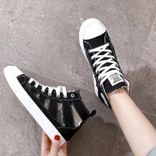 Load image into Gallery viewer, PLATFORM SNEAKERS CUT OUT LACE UP WOMENS DENIM SUMMER SNEAKERS