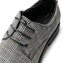Load image into Gallery viewer, Retro Genuine Leather Plaid Lace Up Shoes
