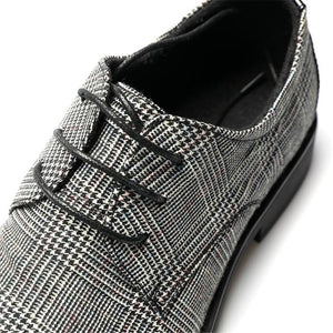 Retro Genuine Leather Plaid Lace Up Shoes