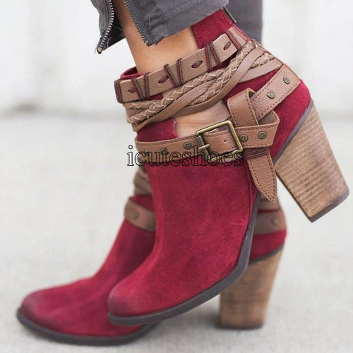 Casual Ladies Shoes Boots Suede Leather Buckle High Heeled Zipper