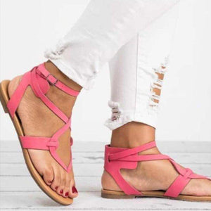 PU Open Toe Flat Heel Adjustable Buckle Women Sandals