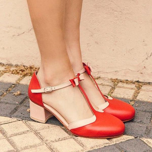 Chunky Heels Summer Color Block Elegant T-Bar Sandals