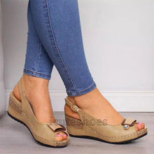 Load image into Gallery viewer, Wedges Sandals Pumps Ankle Buckle Open Toe Fish Mouth Med Summer Women