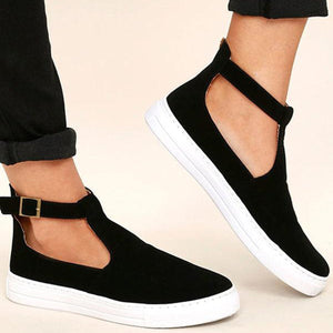 Large Size Women PU Casual Ankle Strap Cavans Buckle Flats Loafers
