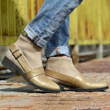 Load image into Gallery viewer, Plain Chunky Mid Heeled Round Toe Casual Outdoor Flat Boots