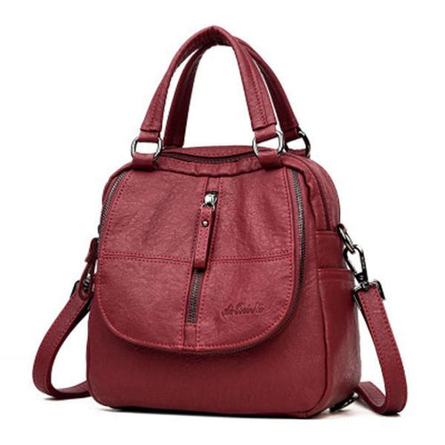 Double Layer Backpack PU Leather Handbag