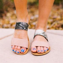 Load image into Gallery viewer, Solid/Sneak Print Band Mule Sandals