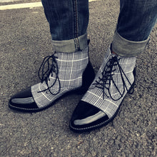 Load image into Gallery viewer, Men's Vintage Plaid Pointed Booties