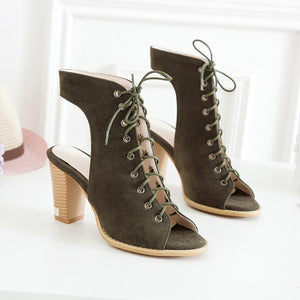Daily Lace-up Chunky Heel Nubuck Pumps