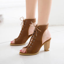 Load image into Gallery viewer, Daily Lace-up Chunky Heel Nubuck Pumps