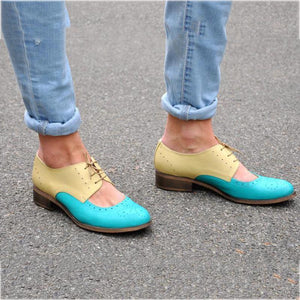 Women's Casual Color Matching Lace Hollow Flats