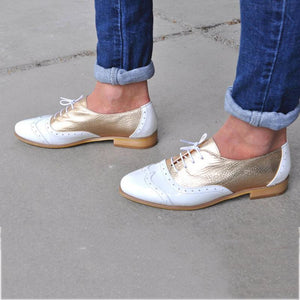Women's Casual College Style Color Matching Pointed Lace-Up Flats