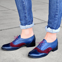 Load image into Gallery viewer, Women's Casual College Style Color Matching Pointed Lace-Up Flats