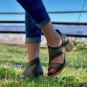 Olive Green Chunky Heel Faux Leather Summer Sandals