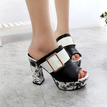 Load image into Gallery viewer, Fashion Summer Women Elegant Buckle High Heel Sandals Peep Toe Platform Shoes Sexy Chunky Heel Shoes Lady