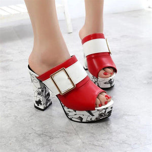Fashion Summer Women Elegant Buckle High Heel Sandals Peep Toe Platform Shoes Sexy Chunky Heel Shoes Lady