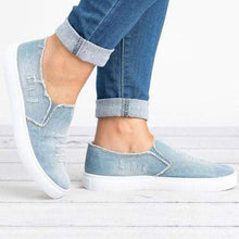 Load image into Gallery viewer, Large Size Washed Denim Loafers Flats Canvas Shoes Women Casual Slip on