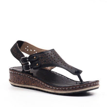 Load image into Gallery viewer, Hollow Double Buckle Wedge Mules Sandals