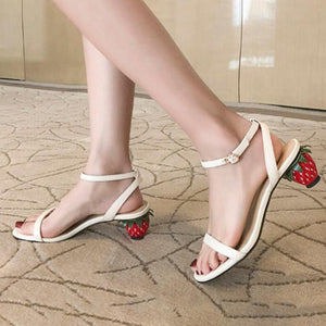 Genuine Leather Cute Middle Heel Summer Sandals