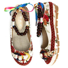 Load image into Gallery viewer, Bead Chain Knitting Butterflyknot For Women Vintage Retro National Wind Lace Up Flat Shoes