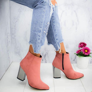 Plain Pointed Toe Chunky High-heel Short Boots