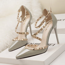 Load image into Gallery viewer, Simple Sexy Nightclub Stiletto Heels Shallow Mouth Pointed Rivet Hollow Shoes
