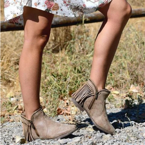 Women's Side Zip Tassel Ankle Boots