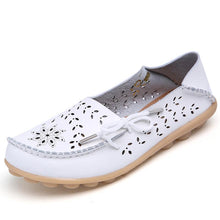 Load image into Gallery viewer, Women Summer Large Size Casual Hollow Out Artificial Leather Flat Slip On Shoes