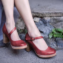 Load image into Gallery viewer, Women's Chunky Heel Buckle Strap Round Toe Heels