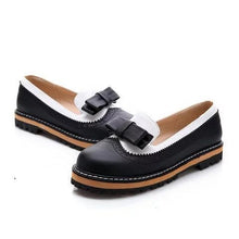 Load image into Gallery viewer, Women Spring Autumn Round Toe PU Slip on Bowknot Casual Low Heel Flats Loafers
