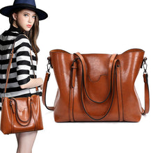 Load image into Gallery viewer, Women Oil Leather Tote Handbags Casual Front Pockets Crossbody Bags Shoulder Bags
