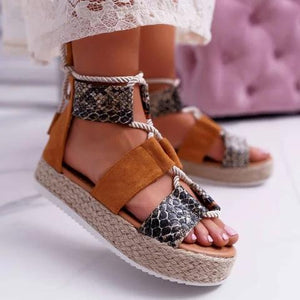 Women Espadrille Lace Up Creepers Sandals