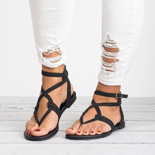 Load image into Gallery viewer, PU Open Toe Flat Heel Adjustable Buckle Women Sandals