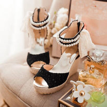 Load image into Gallery viewer, Plain Peep Toe Date Wedge Sandals