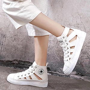 PLATFORM SNEAKERS CUT OUT LACE UP WOMENS DENIM SUMMER SNEAKERS