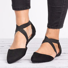 Load image into Gallery viewer, Plain Cotton Fabric Ankle Strap Pointed Toe Casual Date Comfort Flats