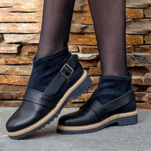 Plain Chunky Mid Heeled Round Toe Casual Outdoor Flat Boots