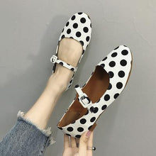Load image into Gallery viewer, Polka Dot Adjustable Buckle Round Toe Flat Heel Mary Jane Shoes