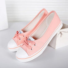 Load image into Gallery viewer, Large Size Women Spring Autumn Daily Casual Canvas Lace Up Shoes Flats Slip On