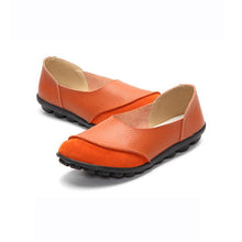 Load image into Gallery viewer, Women Large Size Split Artificial Leather Panel Flats Slip On