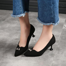 Load image into Gallery viewer, Elegant Rhinestone Kitten Heel Date Heels