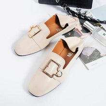 Load image into Gallery viewer, Women Square Toe Buckles Pearl Slip-On Shoes Fashionable Flat Loafers