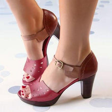 Load image into Gallery viewer, CHUNKY HEEL ANKLE STRAP HOLLOW OUT ELEGANT SHOES WORKING DAILY SHOES