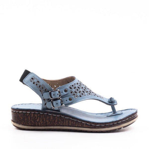 Hollow Double Buckle Wedge Mules Sandals
