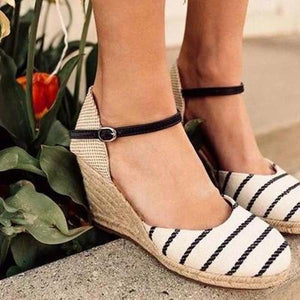 Summer Wedge Buckle Strap Sandals