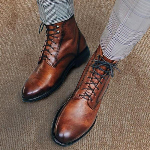 Men Genuine Leather Vintage Lace Up Martin Men Boots